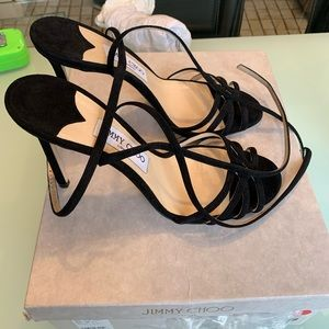 Jimmy Choo heels black suede 39 NWT w/box